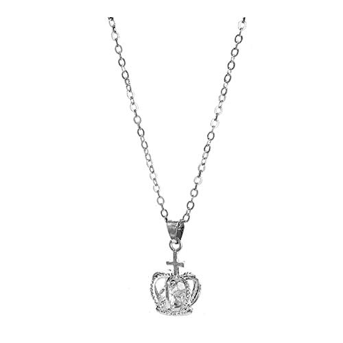 925 Sterling Silver Plated AAA Cubic Zirconia Insert Golden Cross Crown Charm Pendant Necklace,Collarbone chain