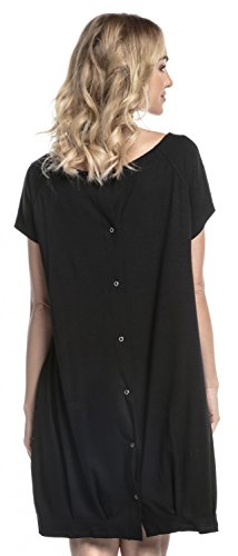 (Happy Mama. Womens Labor Delivery Hospital Gown Breastfeeding Maternity. 097p (Black, US 8/10,)
