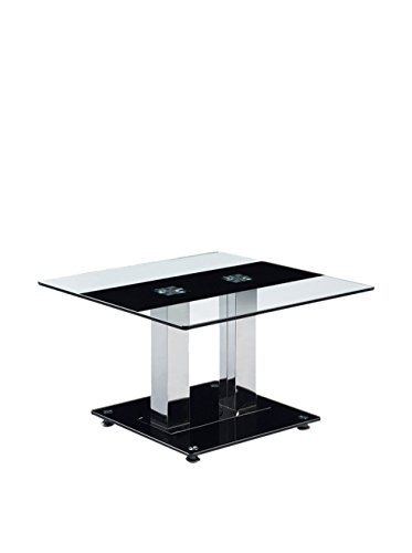 (Global Furniture Clear/Black Stripe Occasional End Table with Silver Legs)