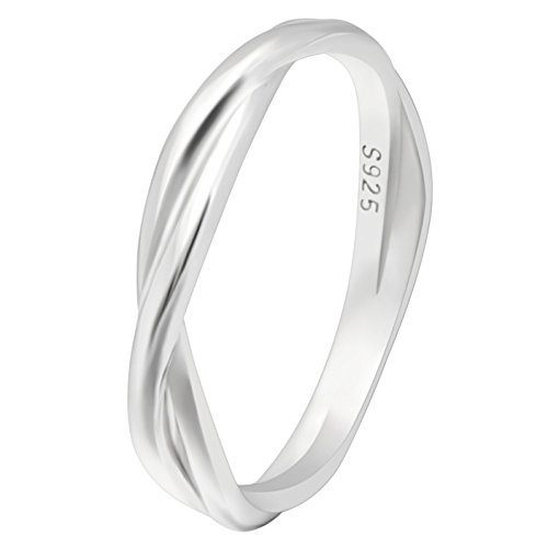 Ginger Lyne Collection Aurora Infinity Twisted Sterling Silver Anniversary Wedding Band Ring by Ginger Lyne Collection