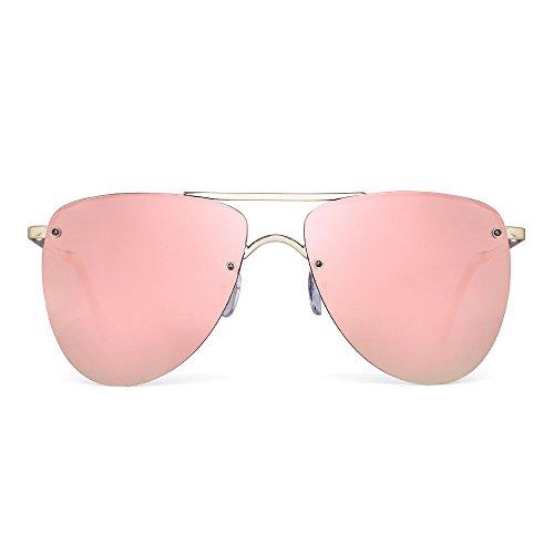 Polarized Rimless Aviator Sunglasses Flat Mirrored Lenses Spring Hinge Men Women (Gold / Polarized Mirror - Mirrored Hot Sunglasses Pink