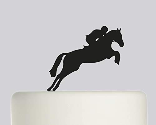 Birthday Cake Topper - Horse Jumping Jockey Happy