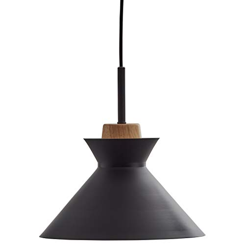 - Rivet Mid Century Round Metal Shade Wood Accent Pendant With Light Bulb - 9.75 x 9.75 x 6 Inches, 27.5 Inch Cord, Black