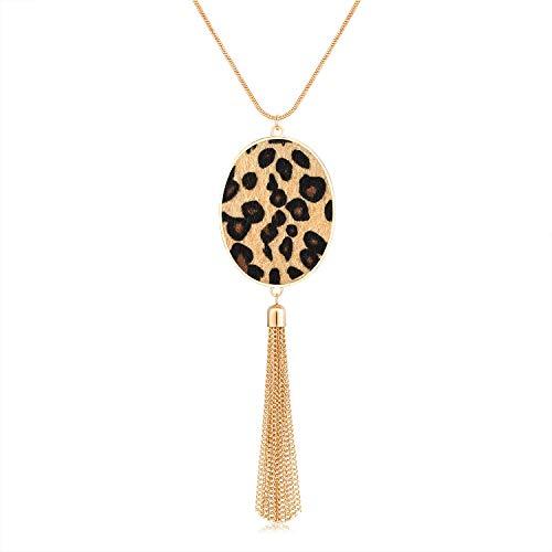 MOLOCH Long Necklaces for Woman Disk Circle Pendant Necklaces Tassel Fringe Y Necklace Set Statement Pendant (Oval-Gold-Light Leopard)