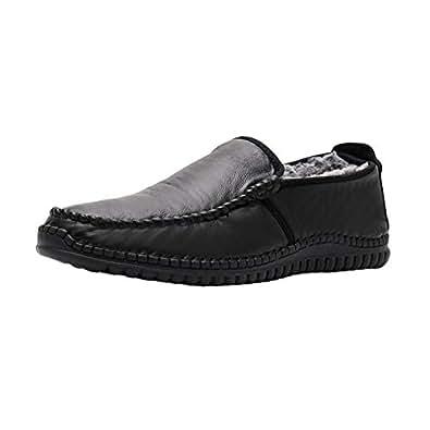 Amazon.com | Fosheng Winter Men Leather Shoes - Cotton