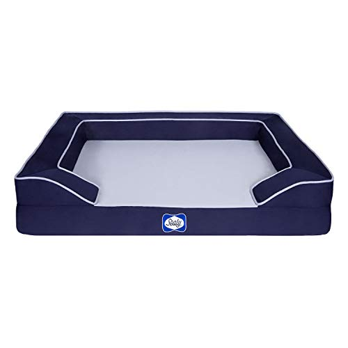 Sealy Lux Pet Dog Bed | Quad Layer Technology with Memory Foam, Orthopedic Foam, and Cooling Energy Gel. Machine Washable Cover. Medium, Navy