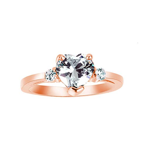 (CloseoutWarehouse Rose Gold-Tone Plated Cubic Zirconia Heart Promise Ring Sterling Silver Size)