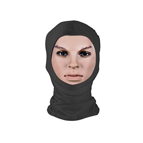 Muka Open Face Unitard Hoods Mask Adult Fancy Dress Costume Spandex Hood for Halloween-Black-One (Halloween Costume Bondage)