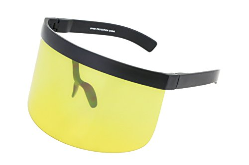 (Elite Futuristic Oversize Shield Visor Sunglasses Flat Top Mirrored Mono Lens 172mm (Yellow, 172))