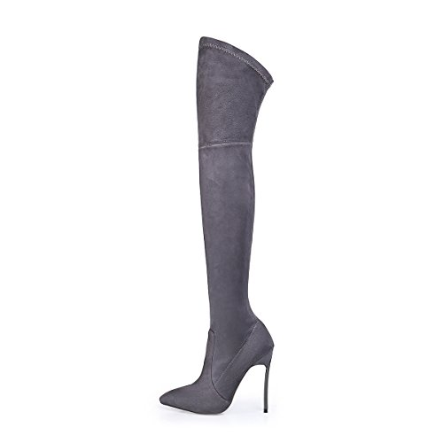 qin Women's amp;X Shoes Long CXQ Boots High Heels Boots Grey Stiletto wtqE5C