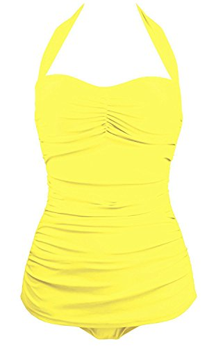 Echo Paths 50s Vintage Solid Classic One Piece Swimsuit Pin Up Monokinis for Women Yellow XL (US:8-10)
