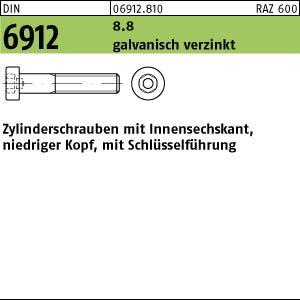 500 Inbus Zylinderschrauben niedrig DIN 6912 8.8 verzinkt M6x14
