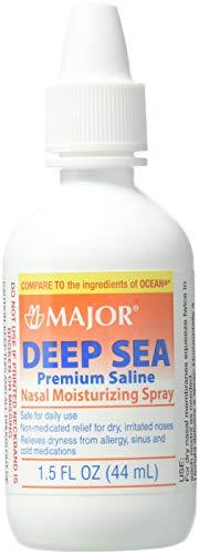 Deep Sea Saline Nasal Spray Generic for Ocean Nasal Moisturizing Spray 1.5 oz per Bottle Pack of 4 Bottles by Major (Best Major Pharmaceuticals Nasal Sprays)