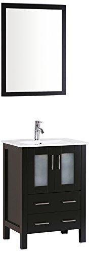 Bosconi Bathroom Vanities AB124U Single Bathroom Vanity With Vertically Mounted Mirror, Inset Sink, and Soft Closing Doors, 24