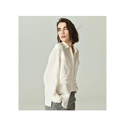 Di Camicia Sciolta A Lunga Manica Blusa Tuta Bianca Seta Top Xcxdx Basica EOaqdO