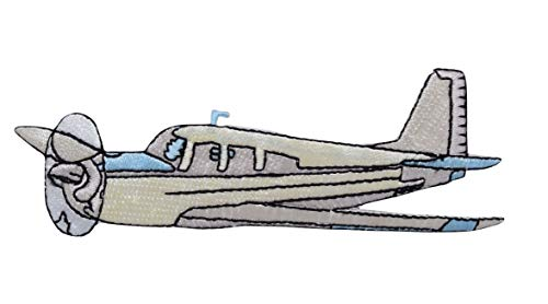 Ivory and Blue Cirrus Airplane Iron on Embroidered Patch