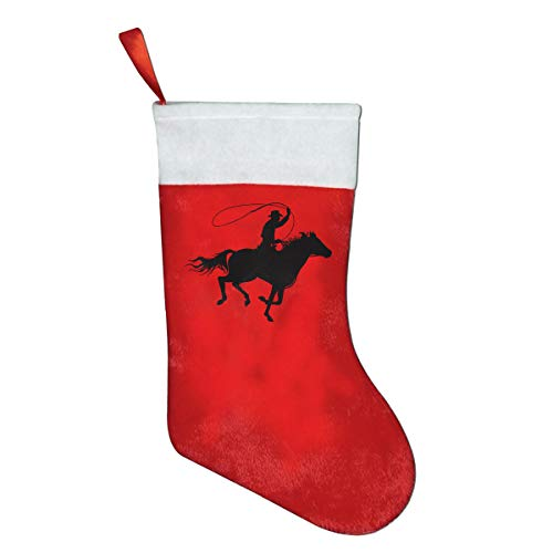 Cool Western Cowboy Classic Christmas Stocking, Holiday Hanging Socks Ornaments Decorations Santa Party Accessory Kids Gift/Treat Bags