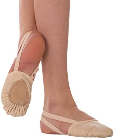 Body Wrapper Womens Leather Pleated Half Sole Slipper Style 621A Theatrical Pink, Size 6