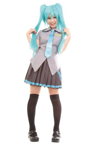 Miku Hatsune Cosplay Costume (Clearstone Women's CO-CO Cyber School Girl Miku Hatsune Costume One Size Grey)