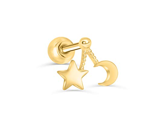 14K Solid Yellow Gold 5mm Tragus conch Cartilage Jewelry Crescent Sailor Luna Moon Moonstar Star Ear Studs Post Ball Earring Piercing For Women Sensitive Ears (14k Crescent Gold Pin)