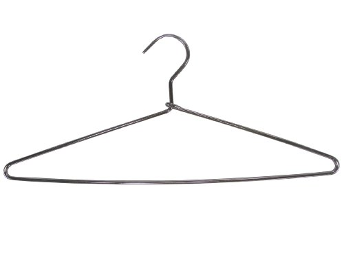 The Great American Hanger Company Heavy Duty Metal Top Suit Hanger Polished Chrome, Box of 100