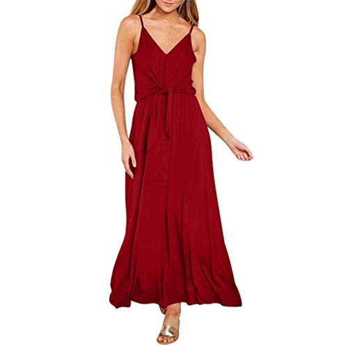 ☀️EDC 2019 Summer Women's Sexy Bohemian Solid Dresses Hight Waist V Neck Strappy Long Maxi Swing Dress for Beach Party (Red, S)