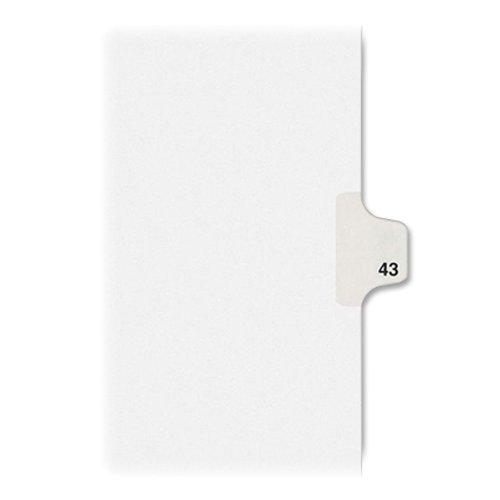 Numeric Legal Tabs - Avery Individual Legal Exhibit Dividers, Allstate Style, 43, Side Tab, 8.5 x 11 inches, Pack of 25 (82241)