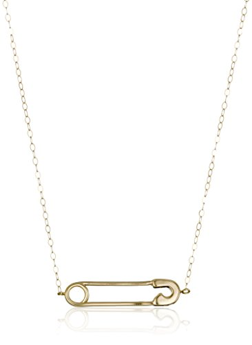 14k Yellow Gold Safety Pin Pendant Necklace, 17