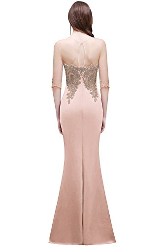 Abendkleid Elegant Rosa Applikation Satin Damen Ballkleider nbsp;2017 Partykleider Nude mit 4 3 Rot lang MisShow Abendkleid Arm anqwUx5nO