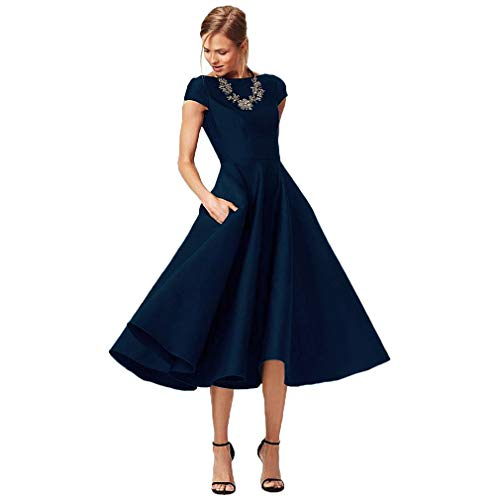 Fashionbride Women's Formal Evening Gown Satin Short Sleeve Tea-Length Mother of The Bride Dress Navy Blue-US6