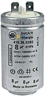 Electrolux AEG condensador condensador de arranque 8 uF 450V DUCATI energia 416.25.5392 con lengüetas para secadora 1250020334 125002033