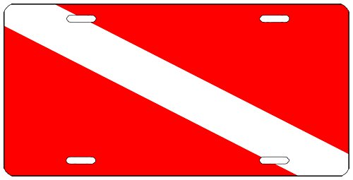 (Rogue River Tactical Diver Down Flag License Plate Novelty Auto Car Tag Vanity Gift Scuba Diving)