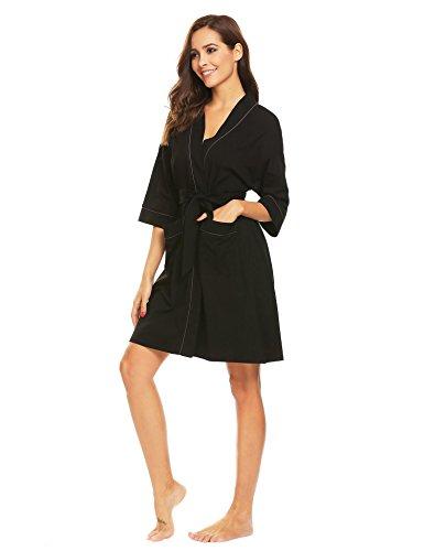 Adidome Women's Robe Soft Cotton Robes Terry Bathrobe Lightweight Kimono Robe Ladies Sleepwear