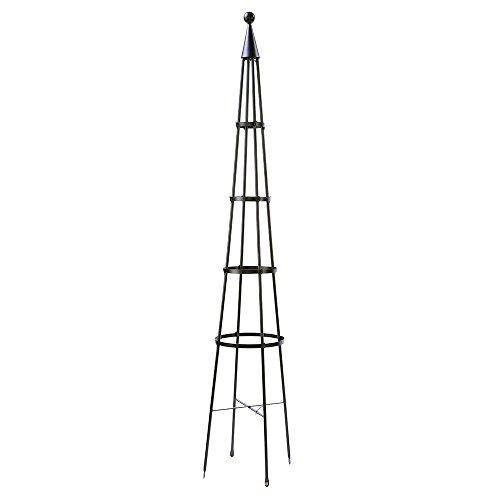 Achla Designs OBL-02, 85-in Wrought Iron Garden Obelisk Trellis, H, Graphite