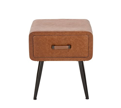 Deco 79 Wood and Leather Side Table, Brown/Black ()