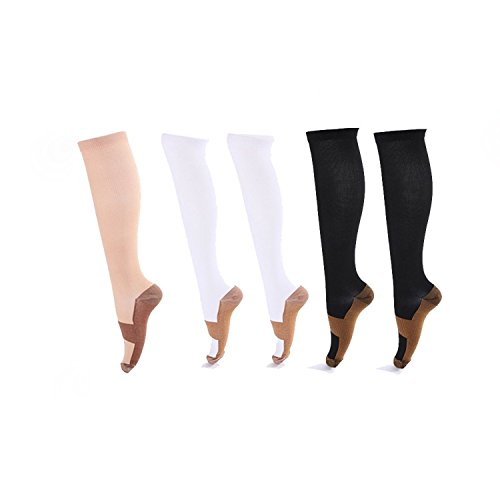 5 Pairs Graduated Compression Socks For Women and Men - Great for Medical, Circulation,& Recovery,Nursing, Travel & Flight Socks - Running & Fitness (large/extra large, Assorted)