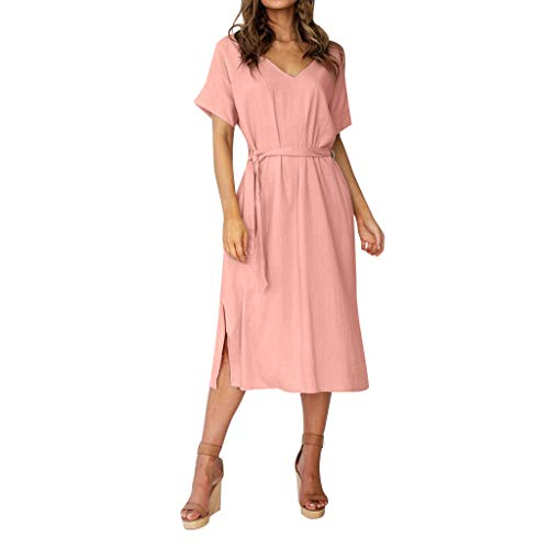 NEARTIME Summer Women's Dress, Fashion Pure Colour Cotton and Linen Tops V-Neck Short Sleeve Simple Beach Dresses