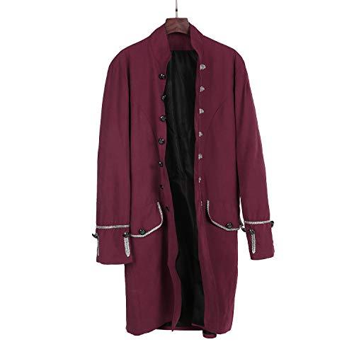 kinfansion Gothic Frock Coat Men Jacket Gothic Victorian Frock Coat Uniform Halloween Costume -