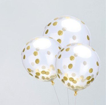 2CUBE (20/Pack) Clear Latex Balloons 12'' With Gold Confetti Dots Suitable For All Kinds Of Party Decorations (Ready To Inflate) 12' Metallic Latex Balloons