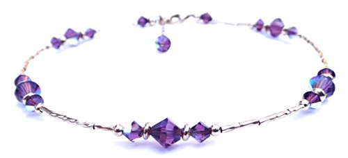 DAMALI Amethyst Gold Filled Swarovski Crystal Birthstone Beaded (Amethyst Beaded Anklet)