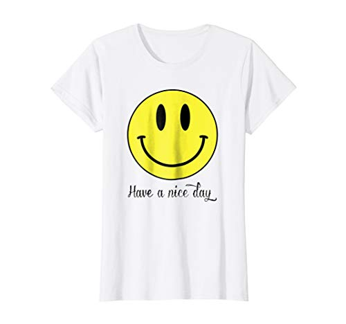 Womens Have A Nice Day Yellow Emoji Happy Smiley Face T-Shirt XL White ()
