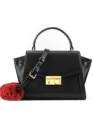 Women's Leather Handbags with Long Cross Body Strap Cute Kitty Shoulder Purse Black