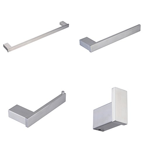"4-Piece Bathroom Hardware Accessory Set With 24"" Towel Bar -"