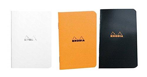 Pack of 3 Rhodia Side Staplebound Pocket Notebook (3 X 4.75) Orange, Black and White by Rhodia