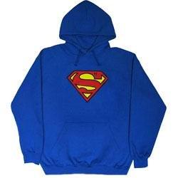Superman Hoodie Blue 2XL (Superman Adult Mens Hoodie)