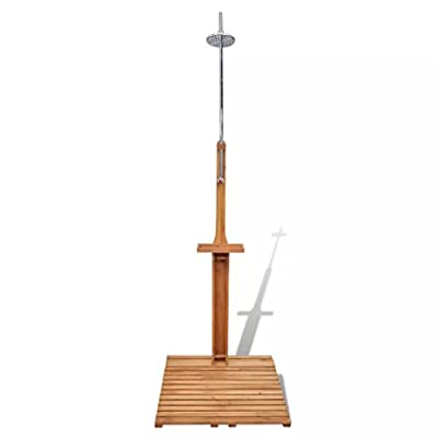 Festnight Wooden Outdoor Shower Stand Portable Mobile Garden Camping Water Pressure Adjustable Shower for Backyard Pool Outdoor Swimming
