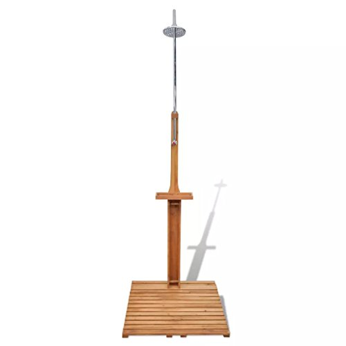 Festnight Wooden Outdoor Shower Stand Portable Mobile Garden Camping Water Pressure Adjustable Shower for Backyard Pool Outdoor Swimming ()
