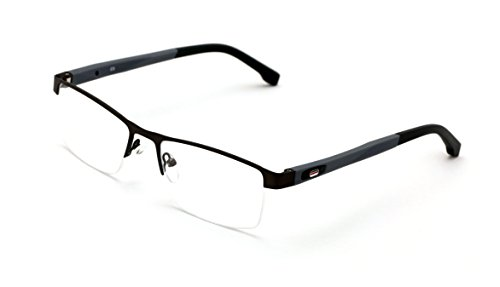 V.W.E. Men Half Rimless Rectangular Non-prescription Glasses Frame Clear Lens Eyeglasses (Gray)