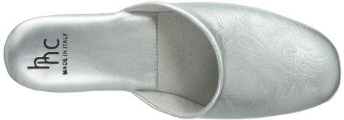 Hans Herrmann Collection HHC 030250-30 - Zapatillas de casa de cuero para mujer, color beige, talla 36 Plateado (Silber (Silber))