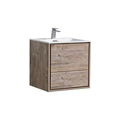 """De Lusso 24"""" Nature Wood Wall Mount Modern Bathroom Vanity -  - bathroom-vanities, bathroom-fixtures-hardware, bathroom - 3196WvORZrL. SS400  -"""